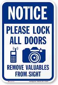Secure Your Valuable Items With - lock your car signs u0026 not responsible for theft signs