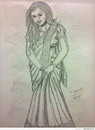 pencil sketch of an indian in saree desipainters com