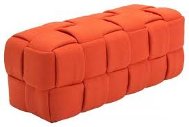 Modern Furniture Bench Lister Bench Orange Contemporary Upholstered Benches By