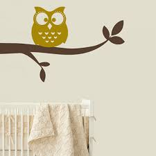 owl on branch wall sticker