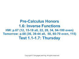 1 1 6 inverse functions find the inverse of the function and