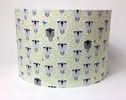 fabric nursery lampshades in organic cotton sheep meadow design