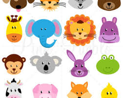 woodland animal faces clipart photo booth masks baby