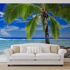 beach sea sand palms hammock wall paper mural buy at europosters beach sea sand palms hammock wallpaper mural
