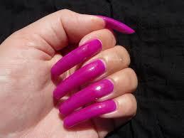 topic fushia pink neon nail polish on long real natural