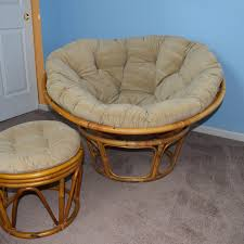 Papasan Ottoman Rattan Papasan Chair And Ottoman With Corduroy Cushions Ebth