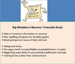 Resume Mistakes False Or Incorrect Information And Grammatical Errors Top The