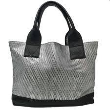 Handmade Leather Tote Bag - tote bag geo silver valevu handmade bags