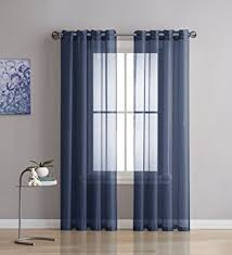 Sheer Navy Curtains Grommet Semi Sheer Curtains 2 Pieces Total Size