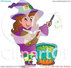 clipart halloween witch in purple making a potion royalty free