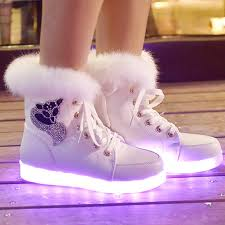 high top light up shoes high top warm led shoes women casual winter shining color light up