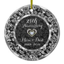 25th wedding anniversary christmas ornament 37 25th wedding anniversary silver ceramic christmas