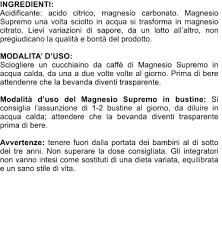 magnesio supremo bustine magnesio supremo ingredienti