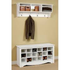Walmart Entryway Furniture Entryway Wall Mount Coat Rack W Shoe Storage Bench In White