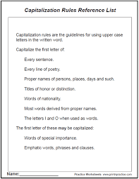 capitalization and punctuation worksheets and rules list