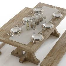 Pottery Barn Toscana Bench by Pottery Barn Stafford Dining Set 3d Cgtrader