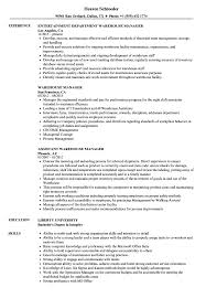 exle of a resume format warehouse manager resume sles velvet