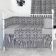 Black And White Crib Bedding Set Sleeping Partners Damask Black And White 4 Baby Crib Bedding