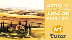 tuscan yellow acrylic painting lesson tuscan rooftops youtube