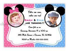 twins baby mickey and minnie mouse first birthday photo invitation
