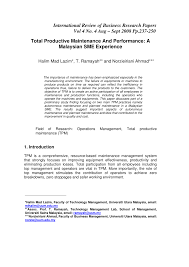 total productive maintenance and performance a malaysian sme