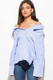 blouse button shop blue striped shoulder sleeve button up boho shirt