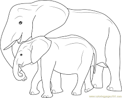 mother baby elephant coloring free elephant coloring