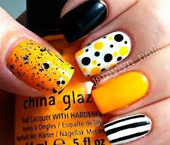 stripes dots yellow white black fall nails nail art pinterest