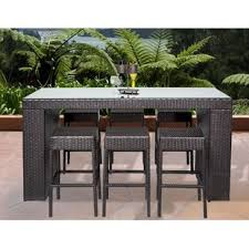outdoor bar height table and chairs set bar height patio sets wayfair