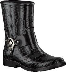 black michael kors rubber boots mk croco rainbootie omoda com