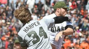 hunter sports fan series bryce harper hunter strickland suspended for setting off nationals