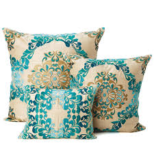 kim seybert brocade teal gold pillows for the home pinterest