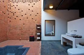 Home Design Brand Towels Architecture Interior Bathroom Shower Brick Wall Perforated Wall