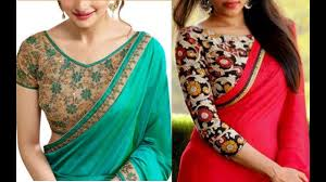 printed blouse plain saree with printed blouse designs heavy embroidery blouse