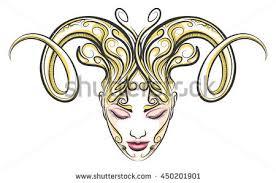 hand drawn beautiful female face ram stock vector 450201901