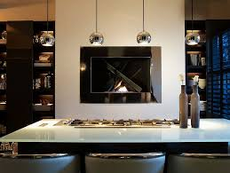 Contemporary Kitchen Pendant Lighting Stone Wall With Fireplace Red Island With Blue Countertop Wood