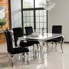 louis 160cm mirrored dining table with white glass seats 4 6