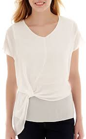 jcpenney ana ana short sleeve knot front blouse where to buy