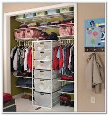 kid friendly closet organization bedroom three rods opened shelving four basket boxes closet