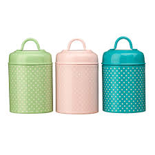 3 polka dot canisters green pink blue kitchen storage tea coffee