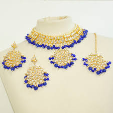 choker necklace blue images Kundan choker necklace set blue sahiba accessories jpg