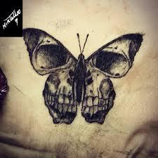 traditional skull butterfly skull skulltattoo