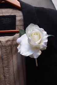 white boutonniere silk boutonniere buttonhole