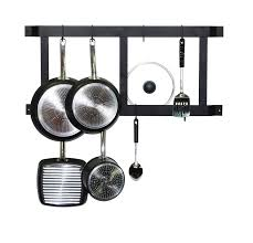 decor powder coated wall mount pot rack with 18 hooks for pretty black metal wall mount pot rack with galvanized hooks for kitchen furniture ideas