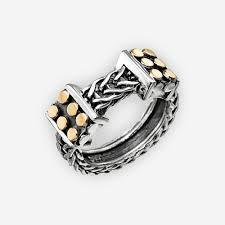 braided band unisex oxidized silver braided band with gold accents zanfeld