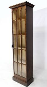 Bookcase With Door by Tall Narrow Crown Glass Bookcase Cabinet High Quality At 1stdibs