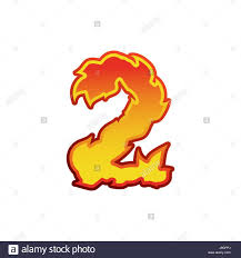 number 2 fire flames font two tattoo alphabet character fiery