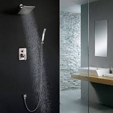 shower faucet brushed nickel all metal split big flow rain shower shower faucet brushed nickel all metal split big flow rain shower amazon com