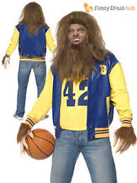 Mens 80s Halloween Costumes Mens Teen Wolf Costume Wig Werewolf Horror Film 80s Halloween