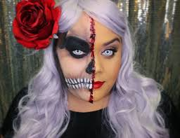 glamour and skull half and half makeup perfect for halloween